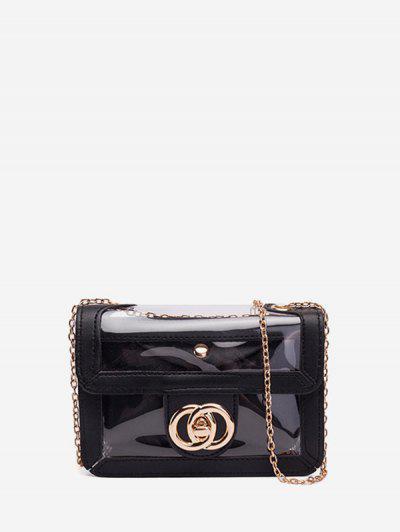 Transparent Chain Crossbody Bag - Black