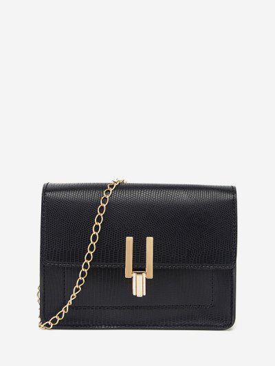 Rectangle Chain Cover Crossbody Bag - Black