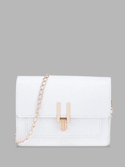 Rectangle Chain Cover Crossbody Bag - White