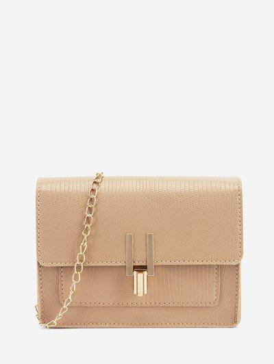 Rectangle Chain Cover Crossbody Bag - Apricot
