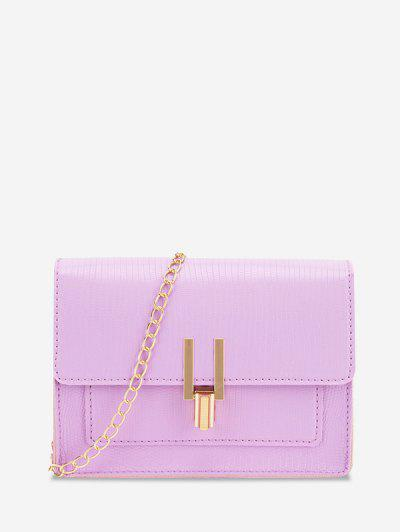 Rectangle Chain Cover Crossbody Bag - Mauve