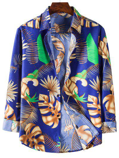 Tropical Leaves Print Long Sleeves Shirt - Blueberry Blue 3xl