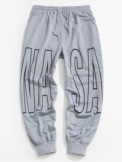 Letter Print Drawstring Sports Pants - Light Gray M