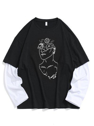 Figure Drawing Print Faux Twinset T-shirt - Black Xs