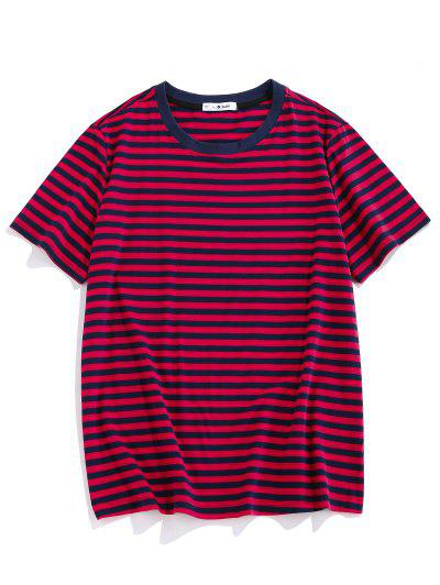 ZAFUL Short Sleeve Striped Print T-shirt - Red M