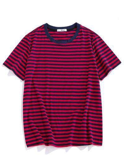 ZAFUL Short Sleeve Striped Print T-shirt - Red L