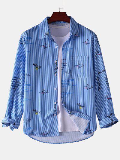 Stripe Letter Long Sleeve Pocket Shirt - Blue M