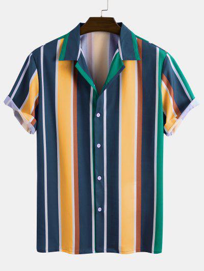 Camisa Rayada Contraste Manga Corta Botones - Multicolor Xl