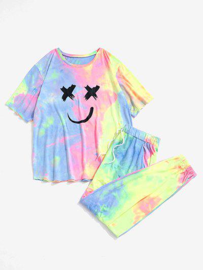 T-shirt E Pantaloni Di Tie-Dye - Rosa Chiaro S