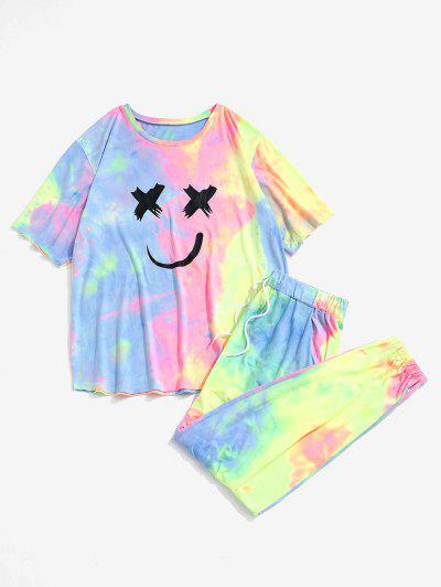 Tie Dye Smiling Face T-shirt And Pants Two Piece Set - Light Pink M