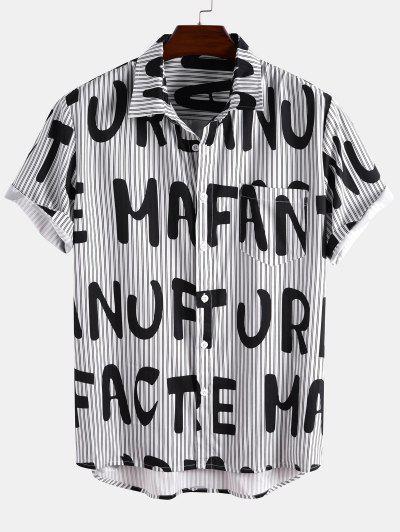 Short Sleeve Stripe Letter Shirt - Black L