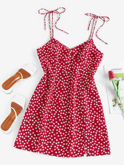 ZAFUL Ditsy Print Slit Tie Shoulder Mini Dress - Red S