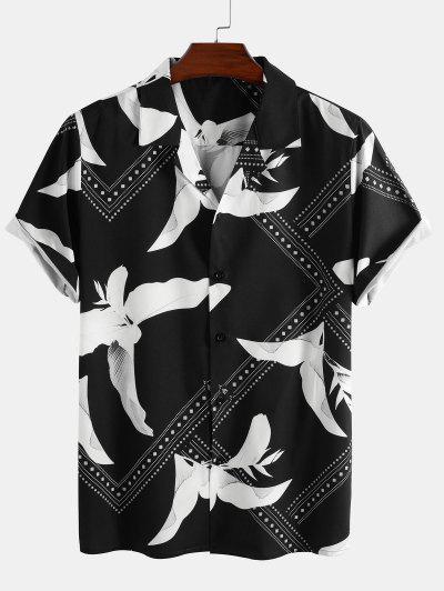Kurzärmliges Hemd Mit Blumenblattdruck - Schwarz Xl