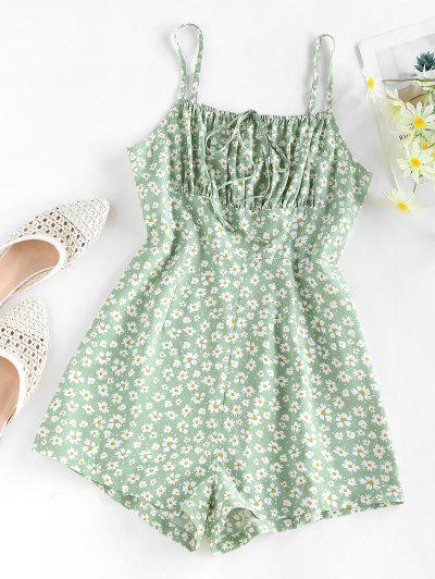 ZAFUL Ditsy Floral Ruched Tied Cami Romper - Light Green M