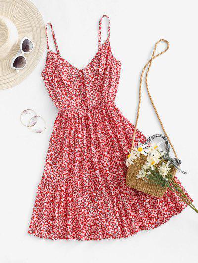 Vestido Ditsy Impressão De Babados Com Franzido Nas Costas - Vermelho L
