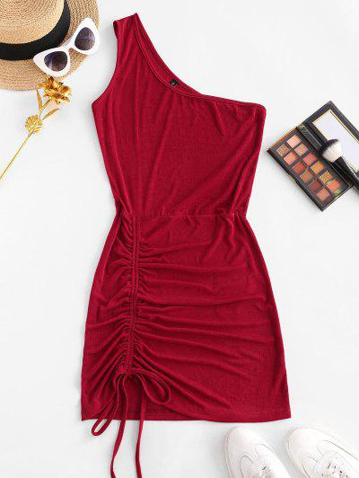 One Shoulder Cinched Bodycon Mini Dress - Red S