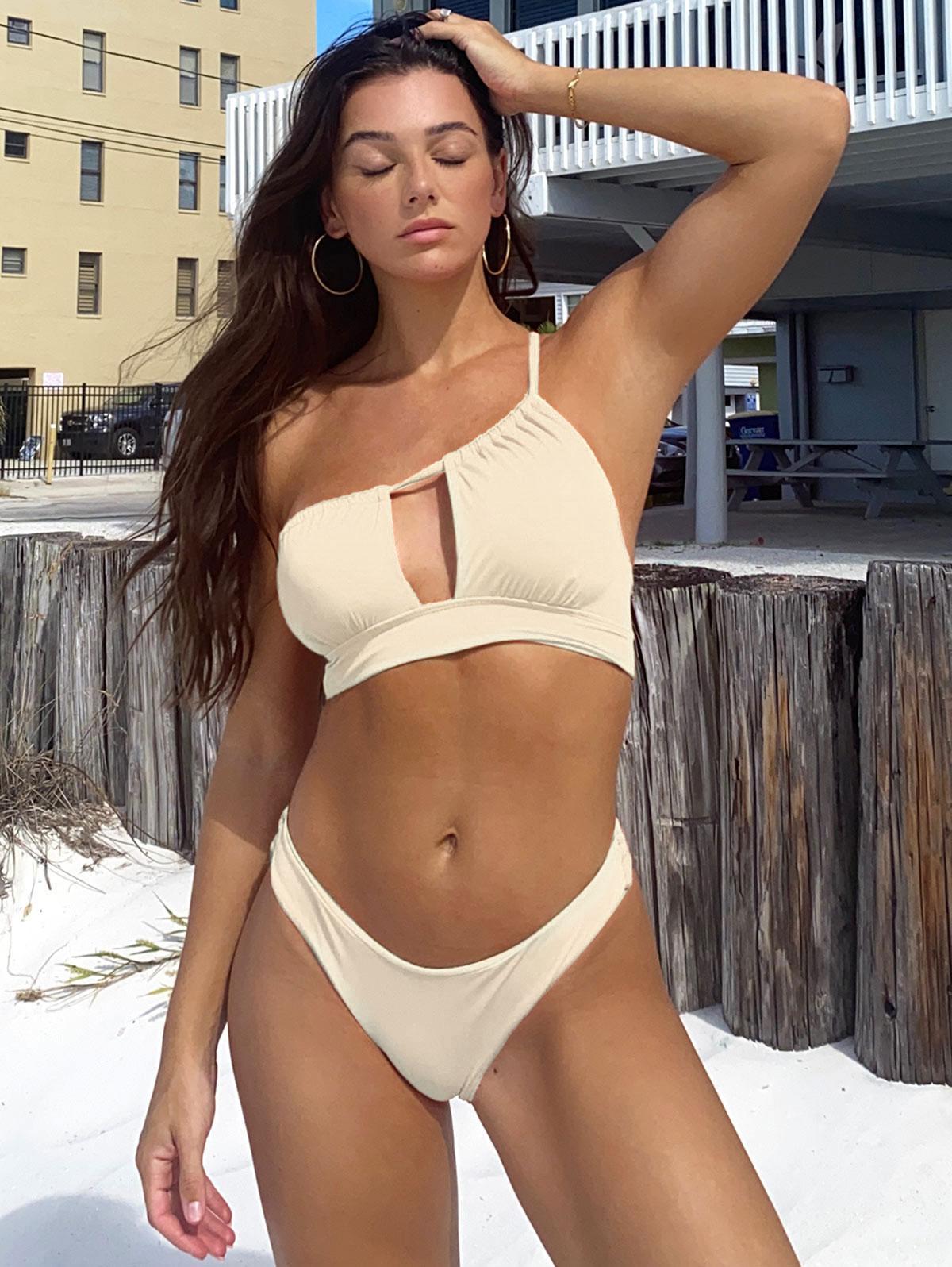 ZAFUL One Shoulder Ribbed Cutout Asymmetric Bikini Swimwear