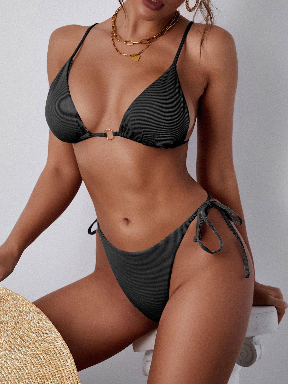 ZAFUL Ribbed O Ring Plunge Bikini Swimwear