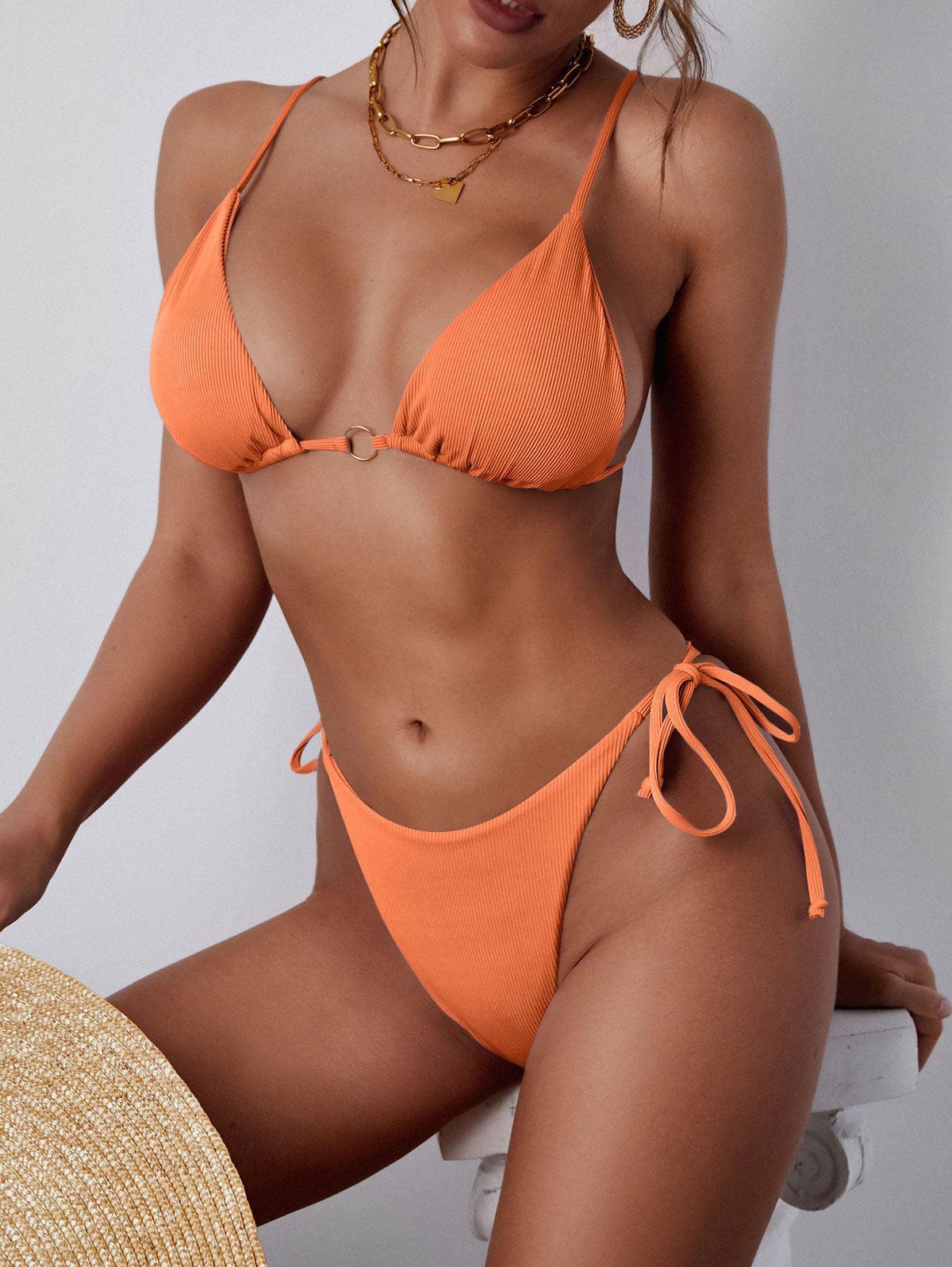 Maillot de Bain Bikini Côtelé Plongeant Anneau en O - ZAFUL - Modalova