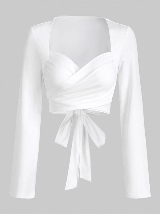 Tie Back Cropped Wrap Top - أبيض M