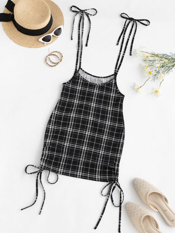 sale ZAFUL Cinched Plaid Suspender Bodycon Skirt - BLACK M