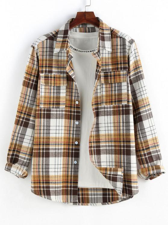 lady ZAFUL Plaid Print Double Pockets Button Up Shirt - COFFEE L
