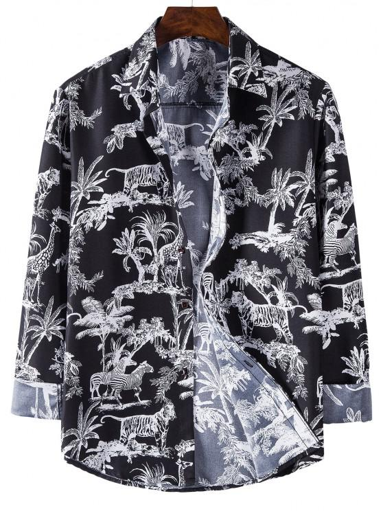 affordable Long Sleeve Jungle Animals Print Shirt - BLACK 3XL