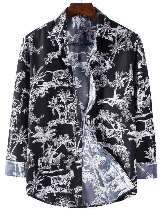women's Long Sleeve Jungle Animals Print Shirt - BLACK L