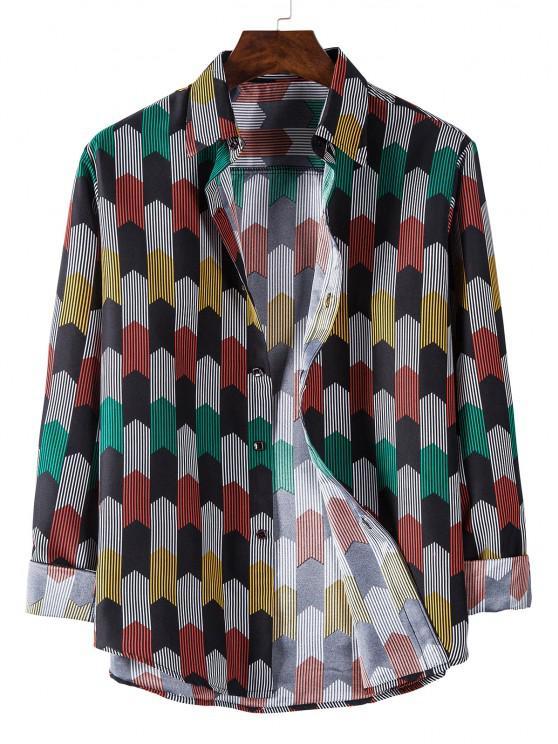 hot Long Sleeve Colorful Striped Print Shirt - BLACK L