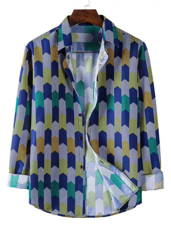outfit Long Sleeve Colorful Striped Print Shirt - COBALT BLUE L