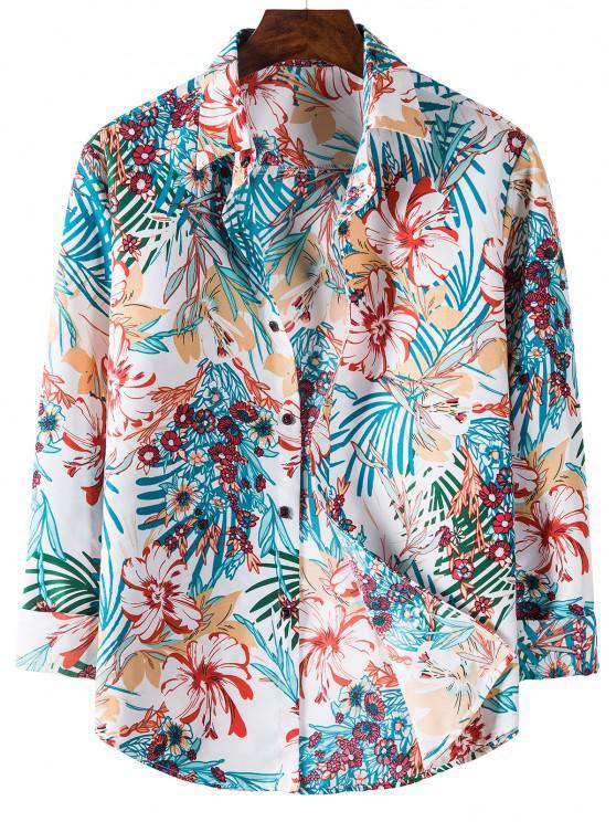 trendy Tropical Flower Printed Long Sleeve Shirt - BLUE IVY L