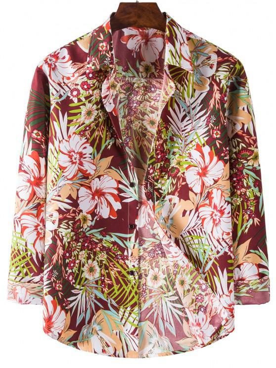 Long Sleeve Tropical Flower Print Shirt - أحمر L