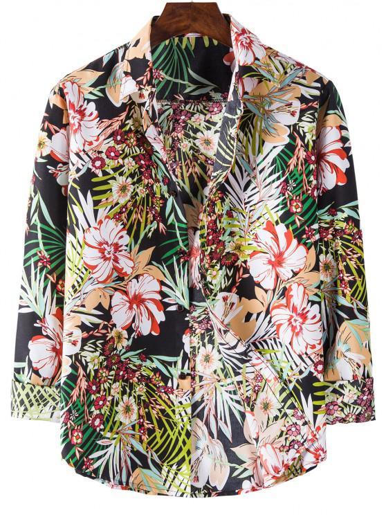 online Long Sleeve Tropical Flower Print Shirt - BLACK M