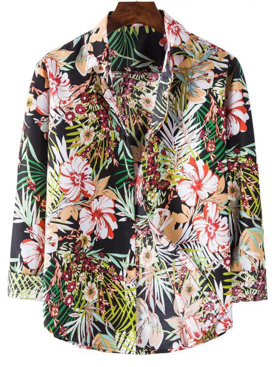 hot Long Sleeve Tropical Flower Print Shirt - BLACK 3XL