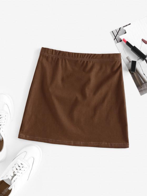 ZAFUL Minirock mit Elastischer Taille - Kaffee L
