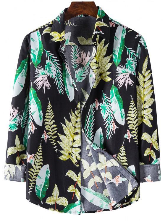 online Long Sleeves Leaves Print Shirt - BLACK L