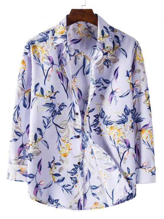 trendy Long Sleeve Leaves Flower Print Shirt - MAUVE 3XL