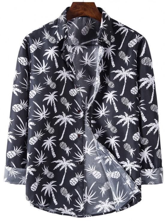 fashion Palm Tree Pineapple Print Long Sleeve Shirt - BLACK M