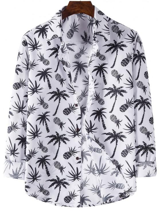 lady Palm Tree Pineapple Print Long Sleeve Shirt - WHITE XL