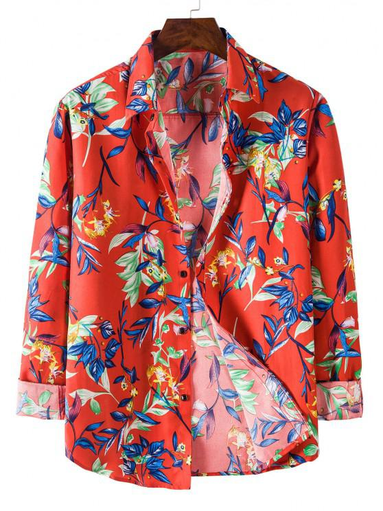affordable Long Sleeve Leaves Flower Print Shirt - RED M