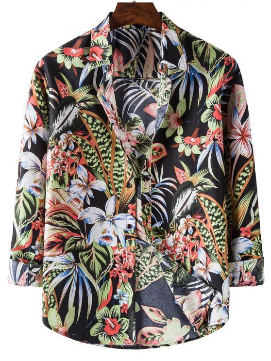 Long Sleeve Tropical Leaves Flower Print Shirt - أسود 3XL