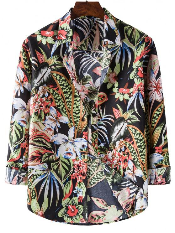 women Long Sleeve Tropical Leaves Flower Print Shirt - BLACK M