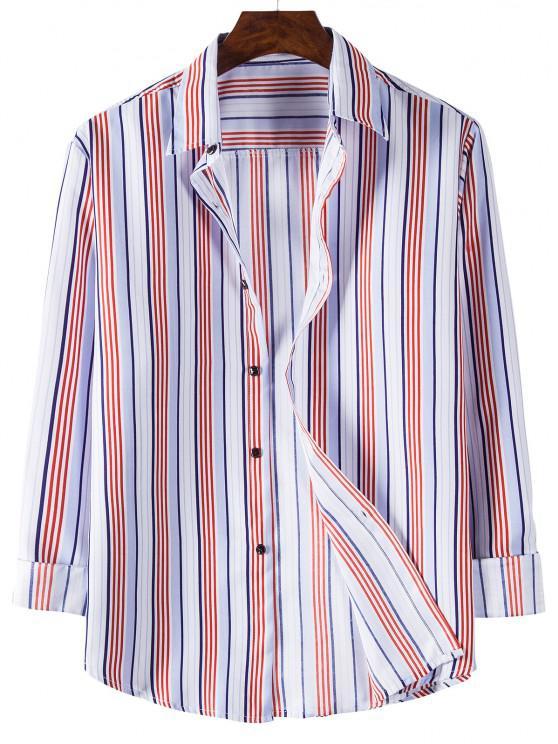 Long Sleeve Striped Print Shirt - وردي فاتح L