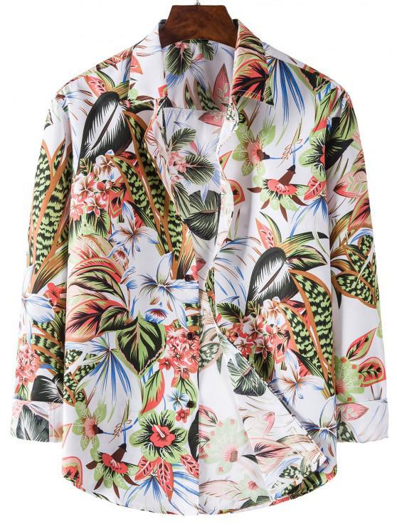 women Long Sleeve Tropical Leaves Flower Print Shirt - WHITE XL