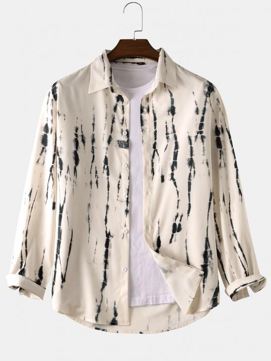 ladies Tie Dye Long Sleeve Shirt - WARM WHITE S