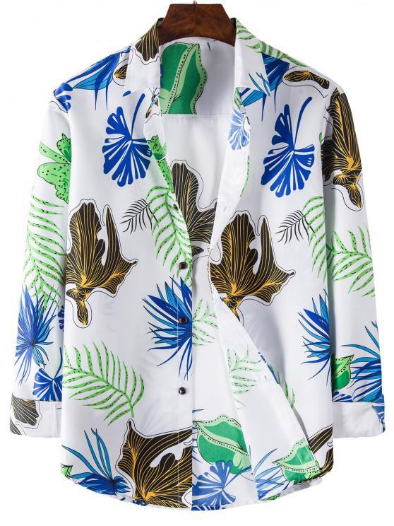 online Long Sleeve Leaves Print Shirt - WHITE L