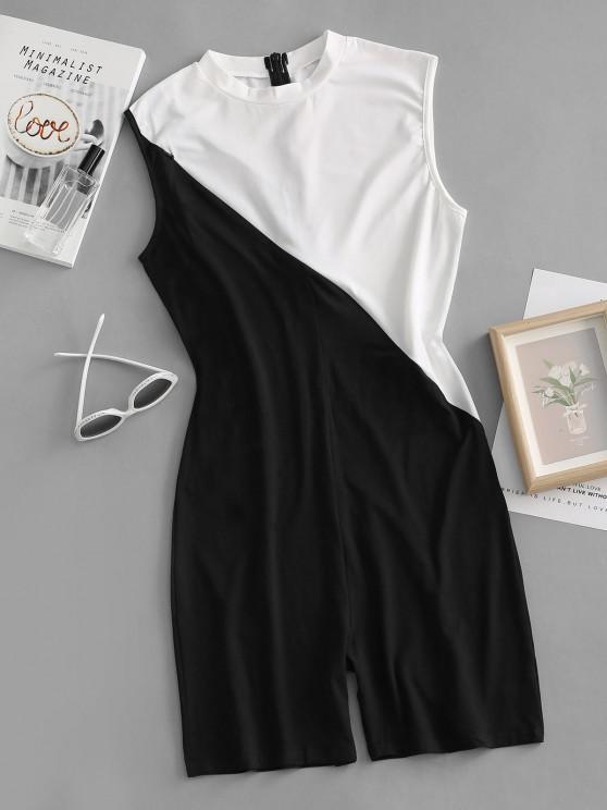 lady Colorblock Zipper Embellished Unitard Romper - BLACK S