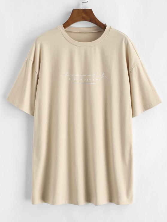 latest Letter Print Basic Tee - LIGHT COFFEE M