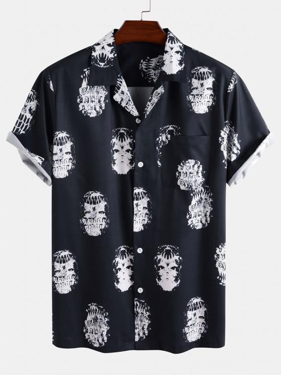 ladies Skeleton Print Pocket Patch Short Sleeve Shirt - DEEP BLUE 2XL