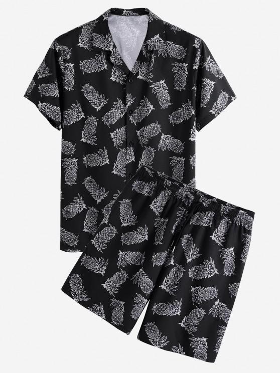 lady Pineapple Print Vacation Shirt And Shorts Set - BLACK S